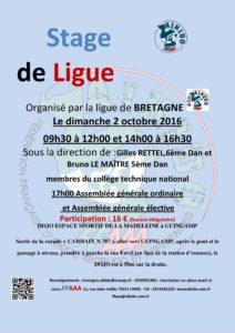 Affiche Stage de Ligue aïkido le 2 octobre 2016 à Guingamp (22).