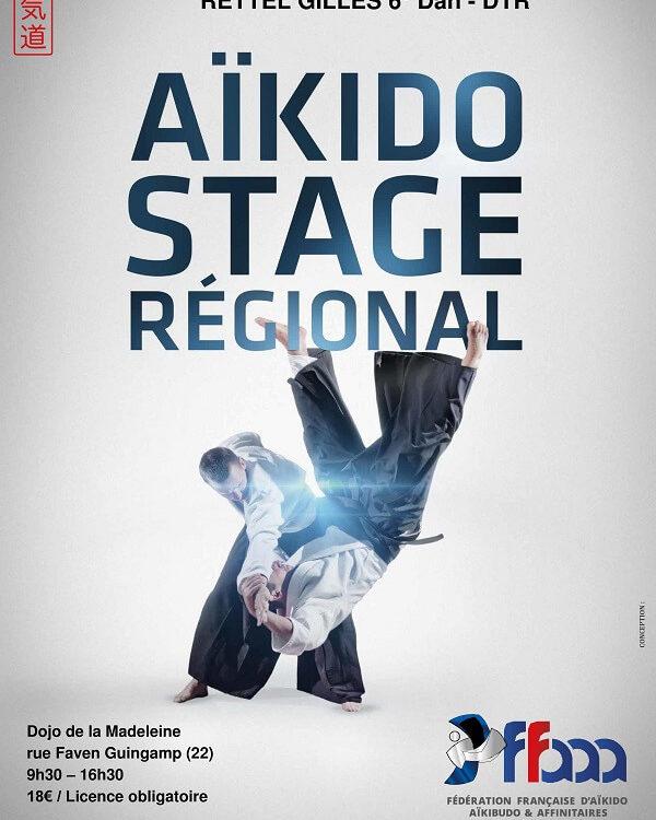 affiche du stage Aïkido de ligue du 30 septembre 2018 à Guingamp