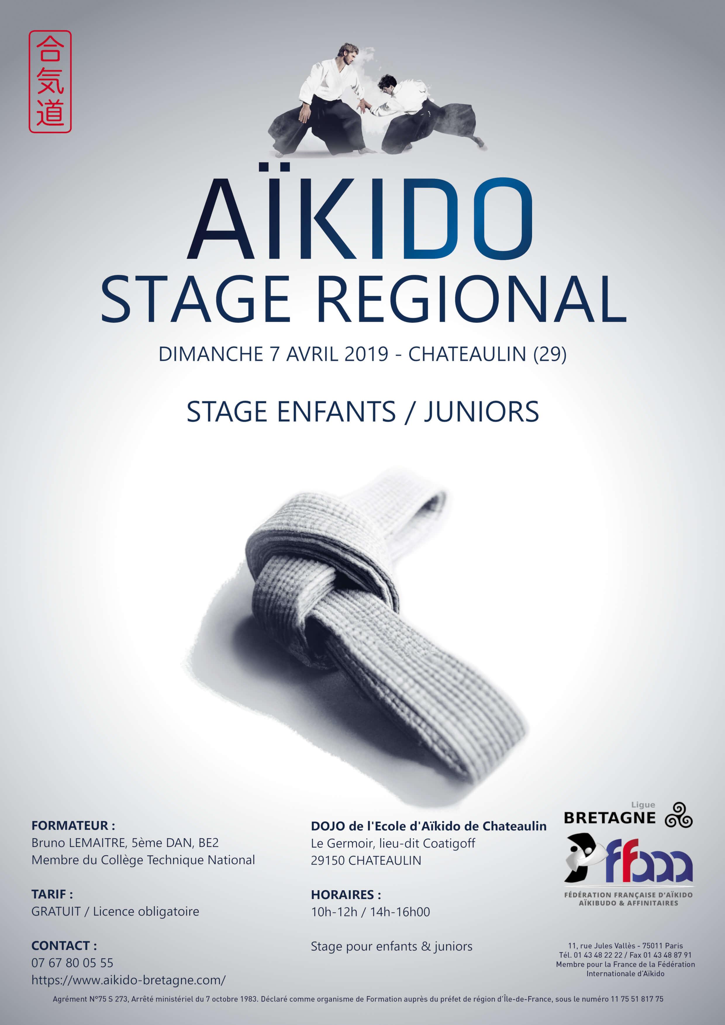 affiche du stage Aïkido enfant/juniors du 7 avril 2019 à Chateaulin