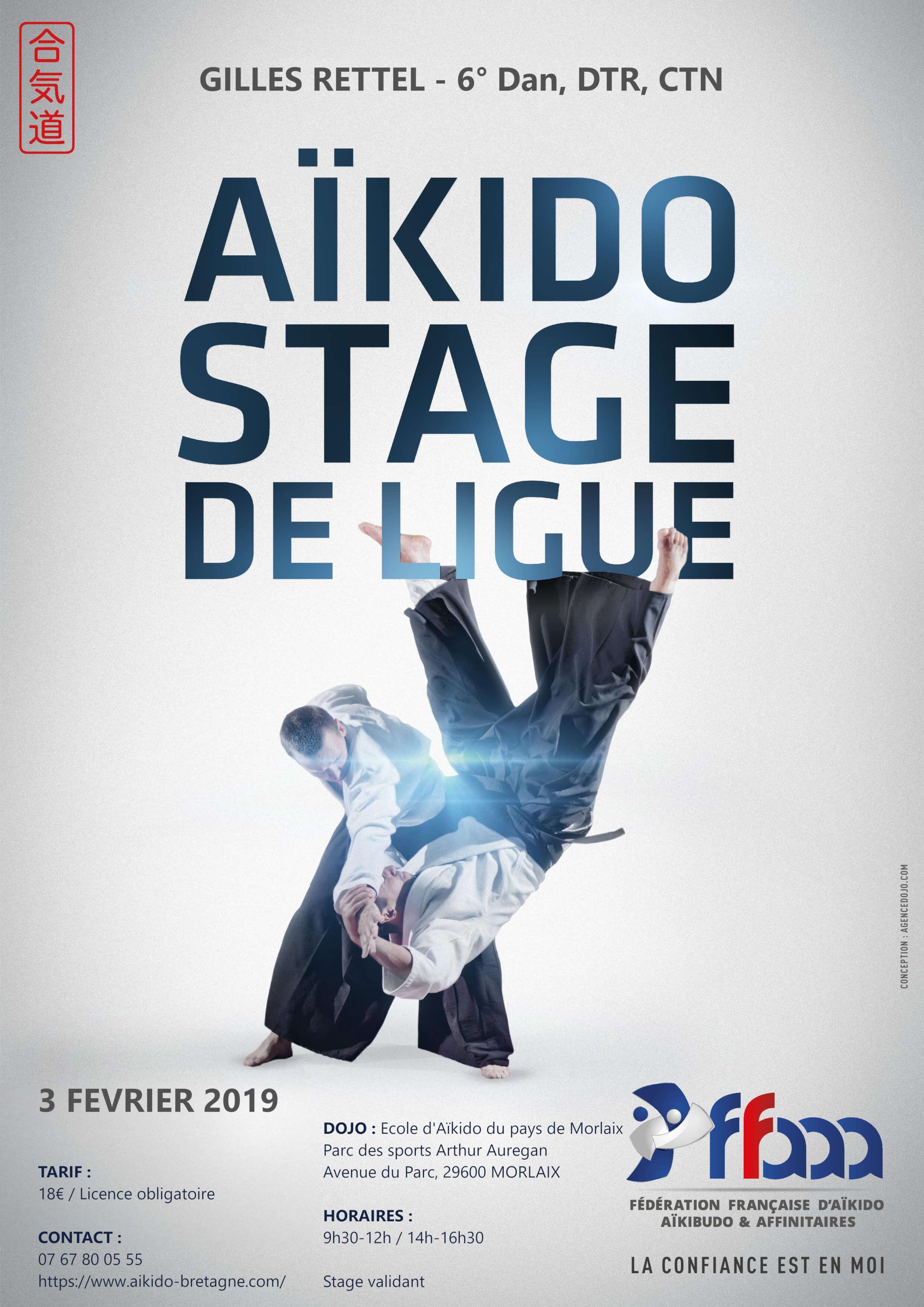 affiche du stage Aïkido de ligue du 3 février 2019 à Morlaix