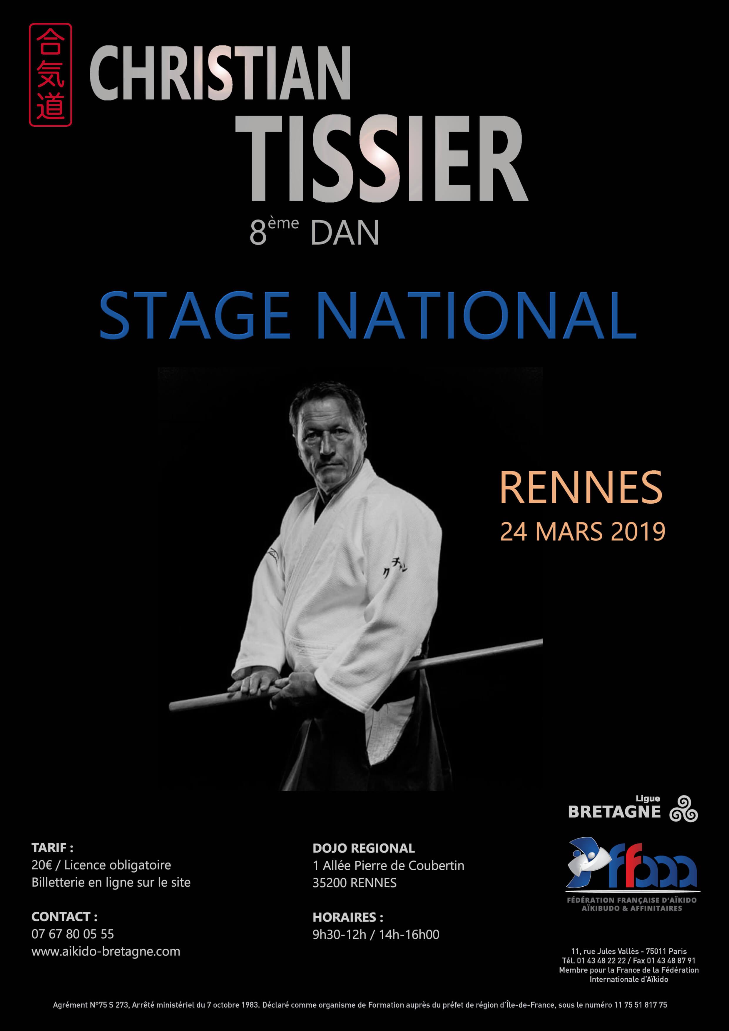 affiche du stage Aïkido National du 24 mars 2019 à Rennes
